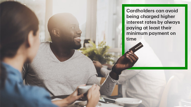 Text that says 'Cardholders can avoid being charged higher interest rates by always paying at least their minimum payment on time.'