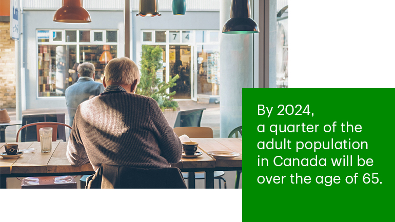By 2024, a quarter of the adult population will be over the age of 65.