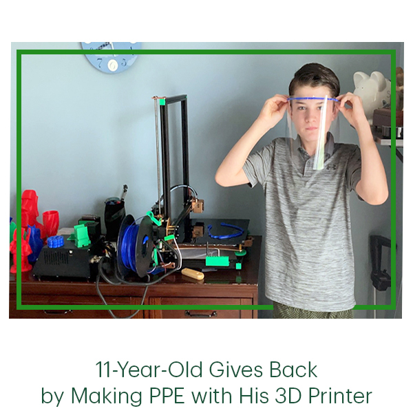 11-Year-Old Gives Back by Making PPE with His 3D Printer