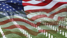 cemetery with american flag