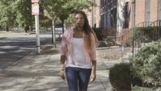 Samiria Simmons walking down the street