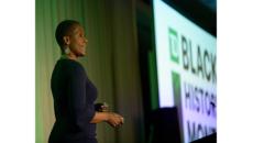 Leslie Marant speaking at the BHM summit