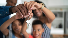 Family with new house keys