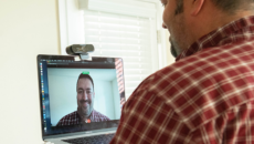 Person on video call