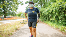 Evelyn Rodriguez preparing to run