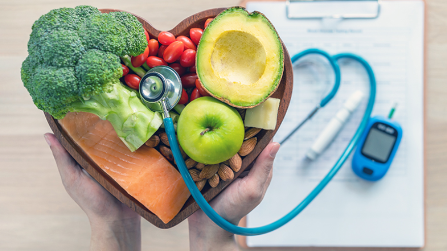 healthy food with stethoscope