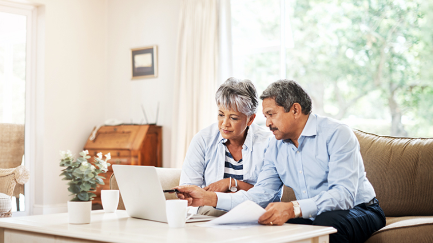 Couple going over retirement options