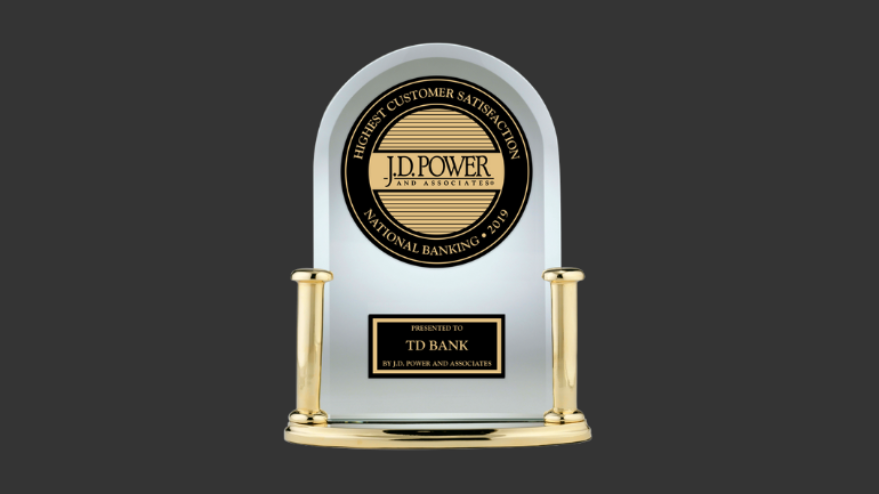 JD Power trophy awarded to TD Bank